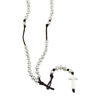 Rosary Cross pendant Polished Beads Brown String Necklace