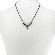 Caucho String Hematite Beads Rosary Necklace