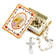 First Communion Rosary Gift Set, Wooden Beads Rosary and Wooden Box for Girsl and Boys