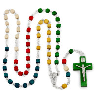 Missionary Rosary with Green Crucifix and Booknarker
