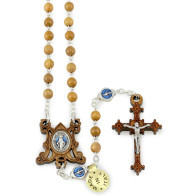 Olive Wood Beads Rosary and Jerusalem Cross Rosary Box
