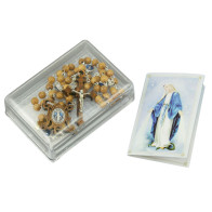 Rosary Olive Wood Beads Miraculous Wooden Crucifix