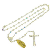 Rosary with Clear Swarovski Crystal Beads Necklace