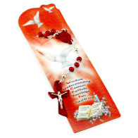 Holy Spirit Rosary Red Wooden Beads and Bookmarker