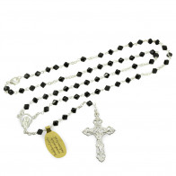 Black Swarovski Crystal Beads Rosary Necklace