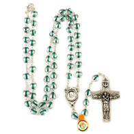 Green Heart Beads Rosary Neckalce with The Original Pope Francis Cross by Vedele