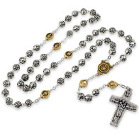 Rosebud Beads Rosary with Gold Tone Pater Beads and The Original Pope Francis Cross by Vedele