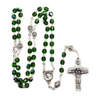 Green Crystal Beads Rosary with The Original Pope Francis Cross