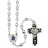 Clear Crystal Beads Rosary with a Coat of Arms Center and a Vatican Cross Italian