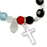 Rosary Bracelet Sterling Silver Swarovski Crystal Beads Life of Jesus