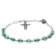 Green Crystal Beads Rosary Bracelet with The Original Pope Francis Cross by Vedele