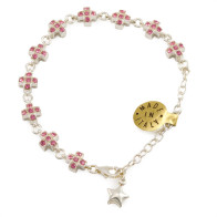 Pink Rosary Bracelet Sterling Silver Crystals Cross beads