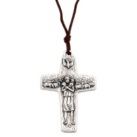 The Original Cross of Pope Francis with Brown Cord - 2 Inch