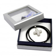 Crystal  Rhinestone Cross Caucho Rope Necklace