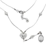 Crystal Rhinestone Encrusted Heart Pendant Silver Necklace