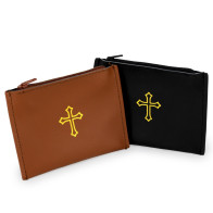 Black Leather Zipper Rosary Pouch with Gold Cross Design