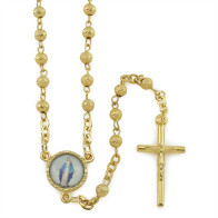 Gold Tone Rosary with Rosebud Beads