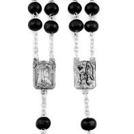 Lourdes Black Wooden Beads Rosary