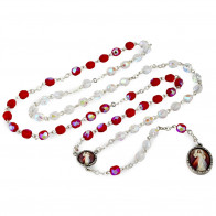Red and White Beads Divine Mercy Rosary Chaplet