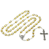 Rosary Metal Beads with Gold Caps