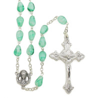 Green Cone Shapped Glass Beads Rosary