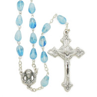 Light Blue Rosary Beads with Sacred Heart of Mary