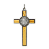 St. Benedict Metal Crucifix with Wooden Inlay - 3 Inch