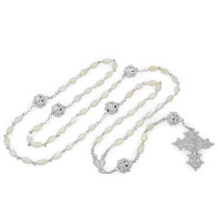 Rosary Mother of Pearl Oval Beads Sterling Silver Filigree