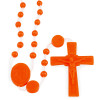 Orange Plastic Beads Catholic Rosary (Nylon) - Our Lady of Lourdes