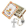First Communion Rosary Gift Set, White Wooden Beads Rosary and Keepsake Box