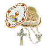 First Communion Gift Set, Pearl Beads Rosary and Communion Box